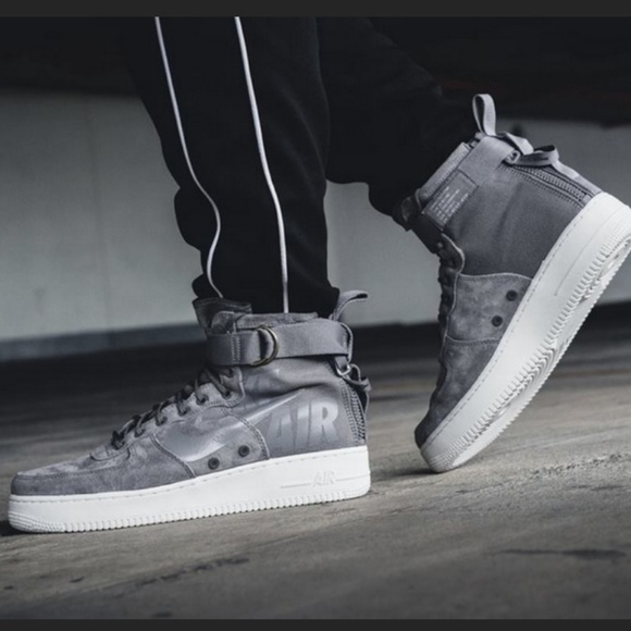 Nike Air Force Mid High Gray Sneakers 1